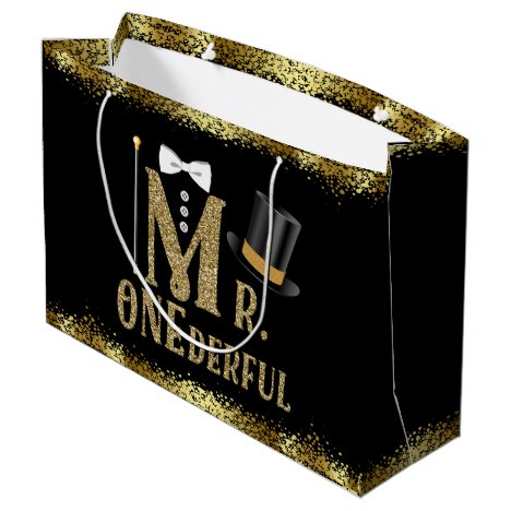 Mr Onederful Boys First Birthday Large Gift Bag