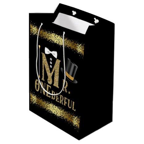 Mr Onederful Boys First Birthday Medium Gift Bag