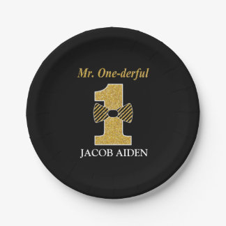 "Mr. ONEderful Custom Paper Plates 7"""