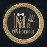 "Mr ONEderful First Birthday Paper Plates<br><div class=""desc"">Mr ONEderful first birthday paper plates with pretty gold words,  top hat and cane with bow tie on a beautiful black and gold background. You can add text to personalize these adorable Mr ONEderful boys first birthday paper plates.</div>"