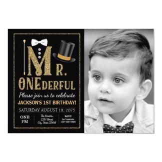 Mr ONEderful Photo Birthday Invitation