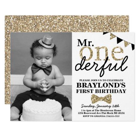 Mr Onederful Photo Invitation, Black and Gold Invitation