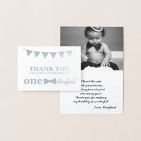 1st birthday thank you cards greeting photo cards zazzle mr onederful real foil thank you card bookmarktalkfo Gallery