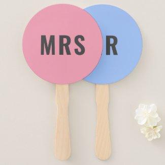 Mr or Mrs? | Bride Groom Pink Blue Wedding Game Hand Fan