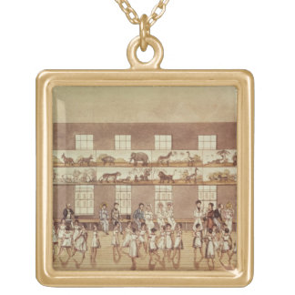 Mr Owen's Institution, New Lanark (Quadrille Danci Square Pendant Necklace