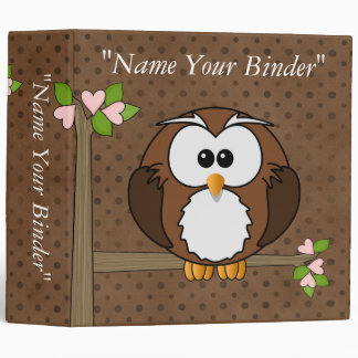 Mr. Owl 2 inch (Customize By Adding Your Text) 3 Ring Binders