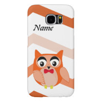Mr owl is a cute orange and brown owl illustration samsung galaxy s6 case