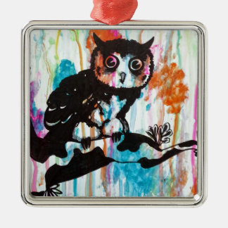 Mr Owl Silver-Colored Square Decoration