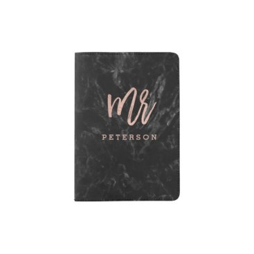 girly_trend Mr passport rose gold typography black marble passport holder