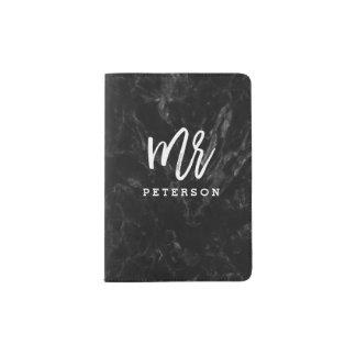 Mr passport white typography black marble passport holder
