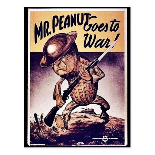Mr. Peanut Goes To War Postcard