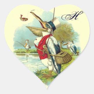 MR PELICAN FISHING HEART MONOGRAM,cream Heart Sticker