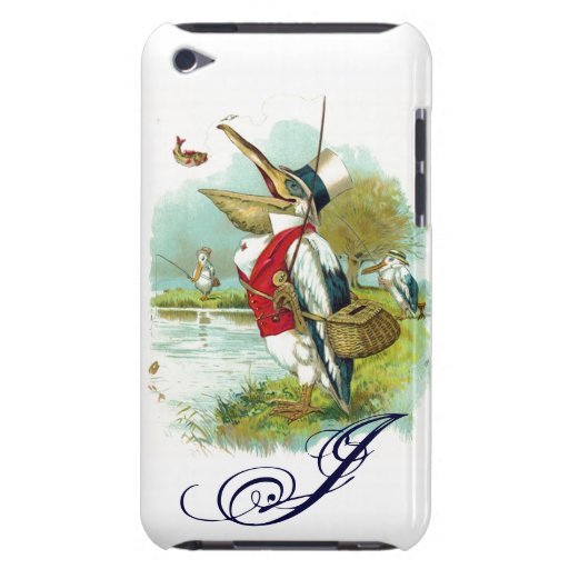 MR PELICAN FISHING MONOGRAM,white Barely There iPod Case