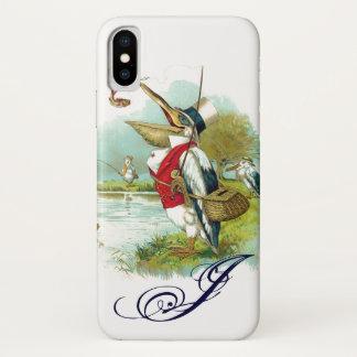 MR PELICAN FISHING MONOGRAM,white iPhone X Case