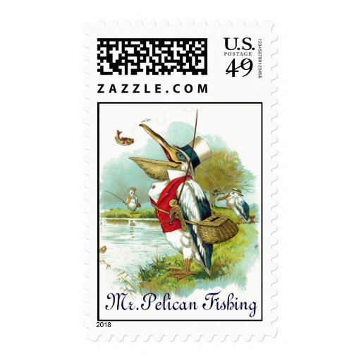 MR PELICAN FISHING POSTAGE STAMPS