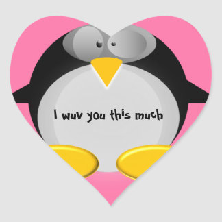 Mr Penguin - I wuv you this much Stickers