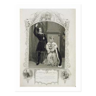 Mr Phelps as Hamlet and Miss Glyn as Queen Gertrud Postcard