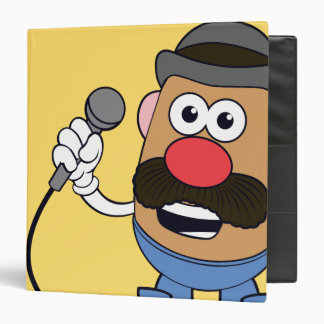 Mr. Potato Head Holding Microphone 3 Ring Binder