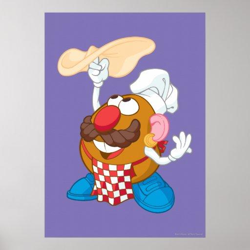 Mr. Potato Head Tossing Pizza Poster