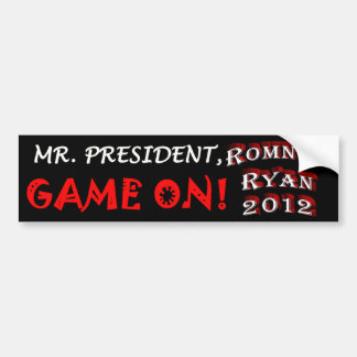 Mr. President - Game On - Romney Ryan 2012 Bumper Sticker