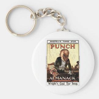 MR PUNCH VINTAGE ALMANACK 1908 PRINT DESIGN KEYCHAIN