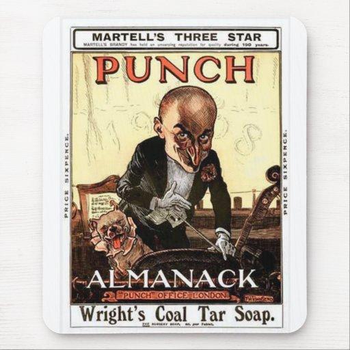 MR PUNCH VINTAGE ALMANACK 1908 PRINT DESIGN MOUSE PAD