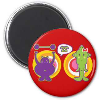 Mr. Purple & Miss Green Cute Cartoon Character 2 Inch Round Magnet