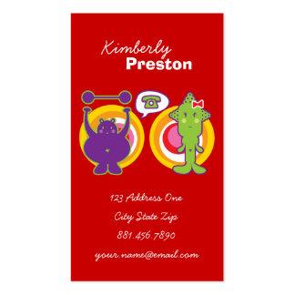 Mr. Purple & Miss Green Cute Cartoon Character Business Card
