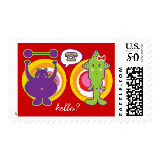 Mr. Purple & Miss Green Cute Cartoon Character Postage