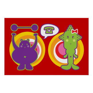 Mr. Purple & Miss Green Cute Cartoon Character Poster