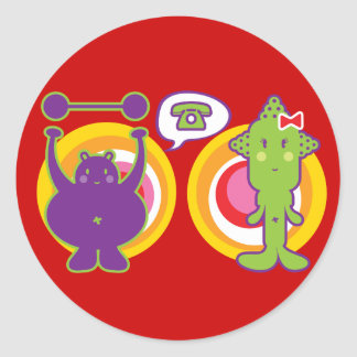Mr. Purple & Miss Green Cute Cartoon Character Round Stickers