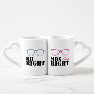 Mr Right and Mrs Always Right Spectacles Lovers Mug Sets