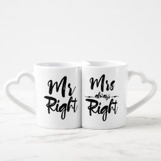 Mr Right and Mrs Always Right Typography Coffee Mug Set