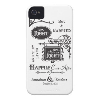 Mr. Right and Mrs. Always Right Wedding Marriage iPhone 4 Case-Mate Case
