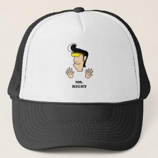 Mr. Right funny cartoon Trucker Hat
