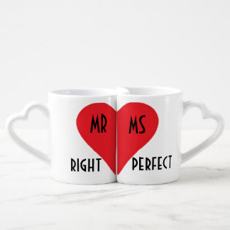 Mr Right His & Her Heart Mugs Lovers Mug Set