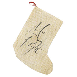 Mr Right linen pattern Small Christmas Stocking