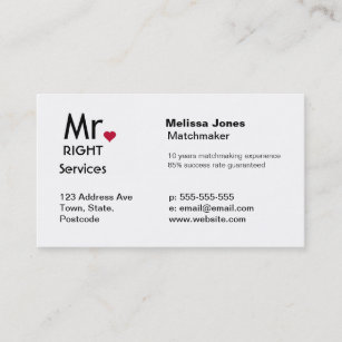 Matchmaking services business cards templates zazzle mr right matchmaker dating service business cards colourmoves