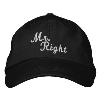 Mr Right Scroll Text Black And White Cap