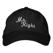 Mr Right Scroll Text Black And White Embroidered Baseball Hat