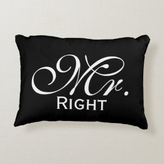 Mr Right Scroll Text In Black And White Accent Pillow