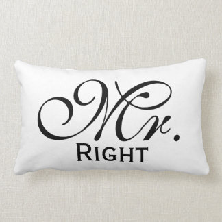 Mr Right Scroll Text In Black And White Lumbar Pillow