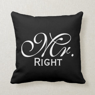 Mr Right Scroll Text In Black And White Throw Pillow