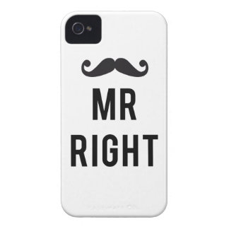 Mr. right text design with mustache Case-Mate iPhone 4 cases