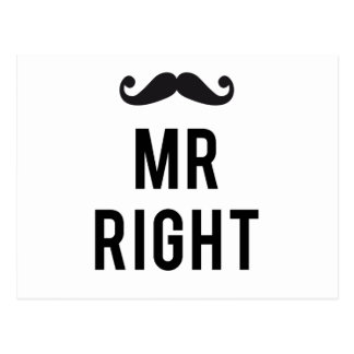 Mr. right text design with mustache postcard