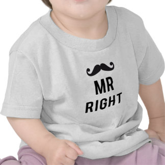 Mr. right text design with mustache t shirts