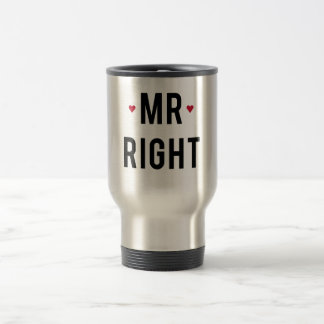 Mr. right text design with red hearts travel mug
