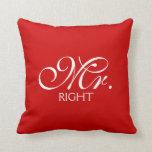 Mr. Right Throw Pillows