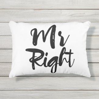 Mr Right Typography In Black And White Accent Pillow