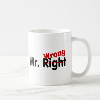 Mr Right Wrong Classic White Coffee Mug